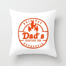 Grill Master Father Culinary Chef Grilling Original Dad's Backyard BBQ Throw Pillow