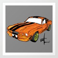 mustang Art Prints featuring Mustang by Portugal Design Lab