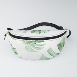 Tropical green leaves on white Fanny Pack