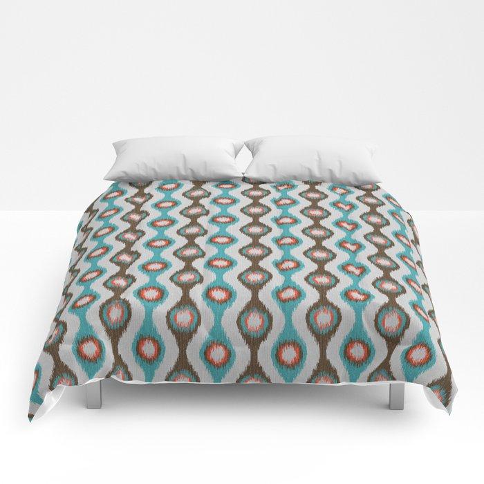 Ikat Stringed Beads Pattern - Teal Brown Orange Grey Comforters