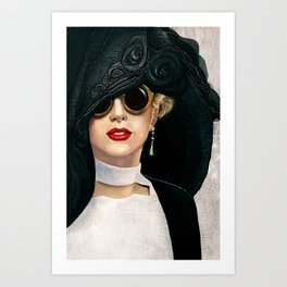 Lady in black & white Art Print