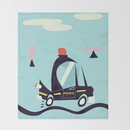 Cartoon Police Car Throw Blanket