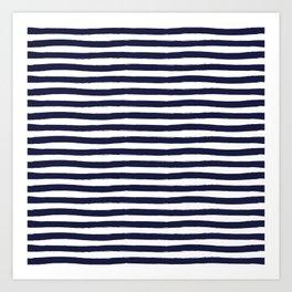 Navy Blue and White Horizontal Stripes Art Print