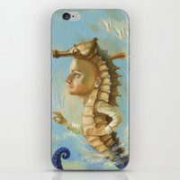 sea horse iPhone & iPod Skins featuring Sea horse by Nataliya Derevyanko