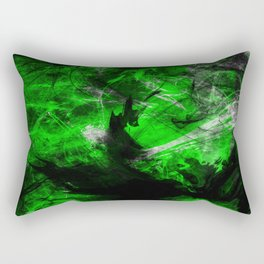 Emerald Blast - Abstract Black And Green Painting Rectangular Pillow