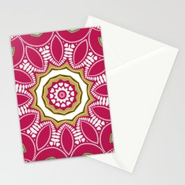Geometric Mandala - Deep Pink Red Stationery Cards