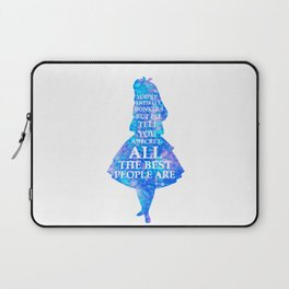 Alice In Wonderland Have I Gone Bonkers Quote - blue pink Laptop Sleeve