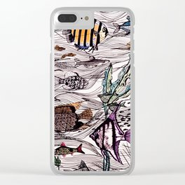 Tropical fish surf school Clear iPhone Case