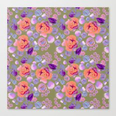 Rosaful rose pattern #Vintage Olive Canvas Print