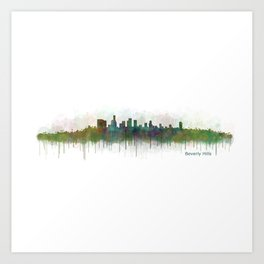 Beverly Hills City in LA City Skyline HQ v3 Art Print