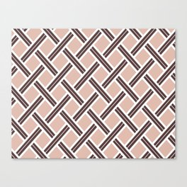Modern Open Weave Pattern in Neutrals and Plums Canvas Print