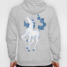 Stencil Unicorn on Teal Sky and Cloud Spray Hoody
