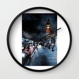 London Street At Night Wall Clock