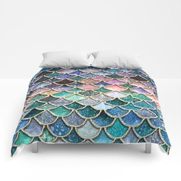 Multicolor Pink And Aqua Mermaid Scales - Beautiful Abstract Glitter Pattern  Comforters