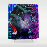 tron Shower Curtains featuring angry gorilla Program v1 by seb mcnulty