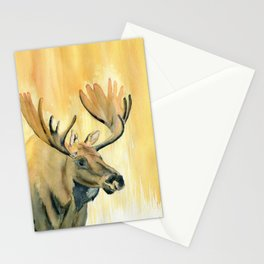 Moose Watercolor Stationery Cards