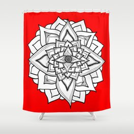Red Black and White Geometric Flower Shower Curtain