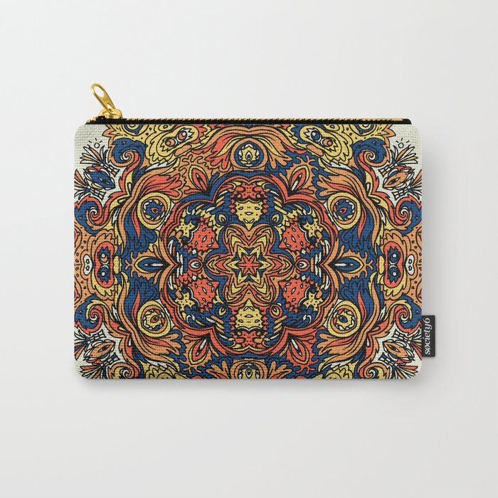 Orange Indian Mandala Carry-All Pouch