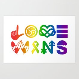 Love Wins (rainbow) Art Print