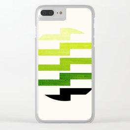 Minimalist Mid Century Circle Frame Sap Green Zig Zag Colorful Lightning Bolt Geometric Pattern Clear iPhone Case
