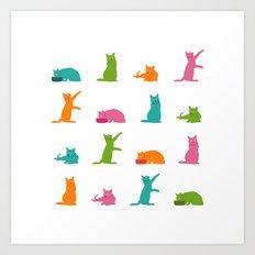 Cats Multicolor Art Print