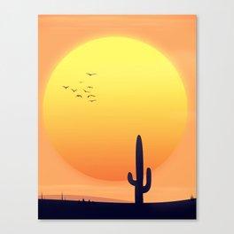 Desert Landscape setting sun. Canvas Print