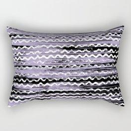 Geometrical lilac black white watercolor brushstrokes Rectangular Pillow