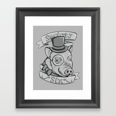 Gentleman Pig (S6 Tee) Black & Gray Framed Art Print