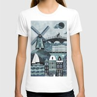 travel poster T-shirts featuring Amsterdam Travel Poster by ClaireIllustrations
