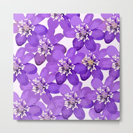 Purple wildflowers on a white background - spring atmosphere Metal Print