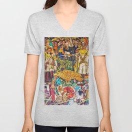 History of Mexico by Diego Rivera Unisex V-Neck