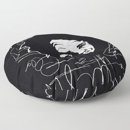 Albert Einstein Tribute Illustration Floor Pillow