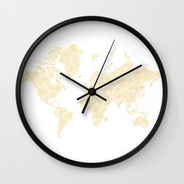 Floral watercolor world map in cream and light brown, Remy, no labels Wall Clock