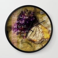 bible verse Wall Clocks featuring Truth - Verse by Anita Faye