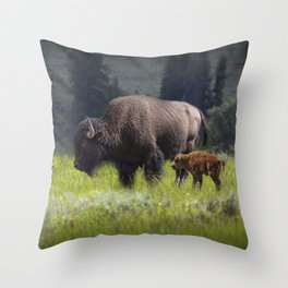 American Buffalo Bison Mother and Calf in Yellowstone National Park Throw Pillow