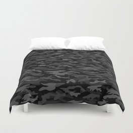 NEW AGE BLACK CAMOUFLAGE IN 4 SHADES OF GRAY  Duvet Cover