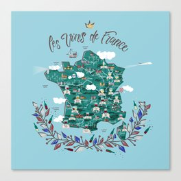 Map of french vineyards Canvas Print