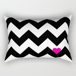 Heart & Chevron - Black/Pink Rectangular Pillow