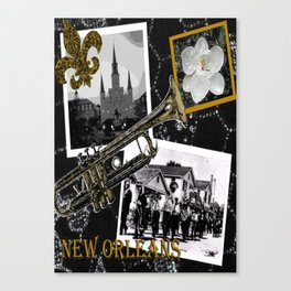 Classic New Orleans Black & white vintage collage Canvas Print