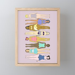 Sunbathers - Retro Female Swimmers Framed Mini Art Print