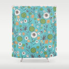 Emma - Wildflowers in Teal & Tangerine Shower Curtain