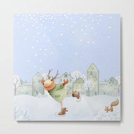 Merry christmas - Ice skating Deer and squirrel are having Winter fun Metal Print