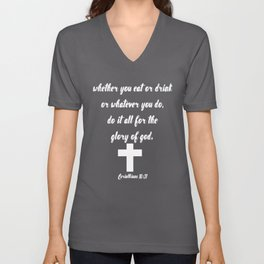 Corinthians Bible Quote About Food Unisex V-Neck