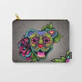Smiling Pit Bull in Blue - Day of the Dead Pitbull Sugar Skull Carry-All Pouch
