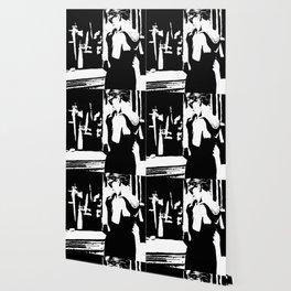 Audrey Hepburn in movie Breakfast at Tiffany's. Black and white portrait, monochrome stencil art Wallpaper