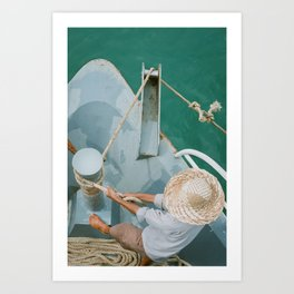 Fisherman; Vietnam fisherman Asia travel photography bright green blue art print Art Print
