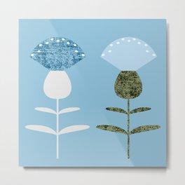 MCM Basket Flower Blue Metal Print
