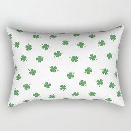 Green Shamrocks White Background Rectangular Pillow