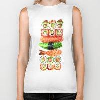 sushi Biker Tanks featuring Sushi by Sam Luotonen
