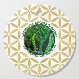 Gnome Fairy Golden Flower of Life Cutting Board